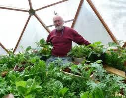 a gardener inside a solar greenhouse