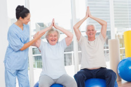 Assisted Living - ball yoga for senior fitness