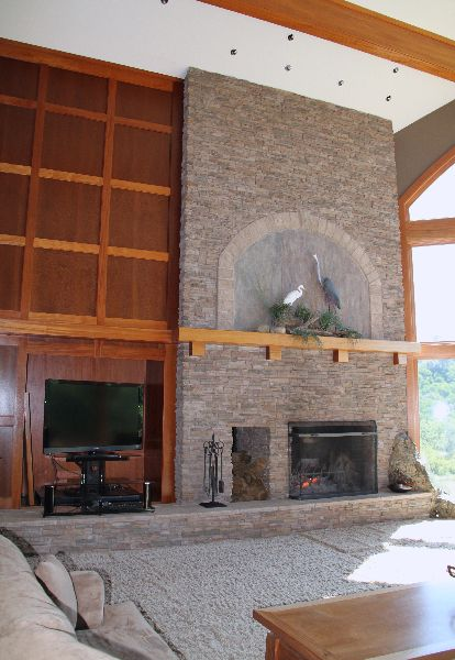 fireplace and TV at Rincon del Rio clubhouse