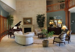 spacious lobby at Rincon del Rio's clubhouse
