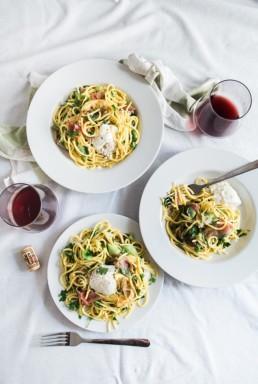 fine pasta and wine