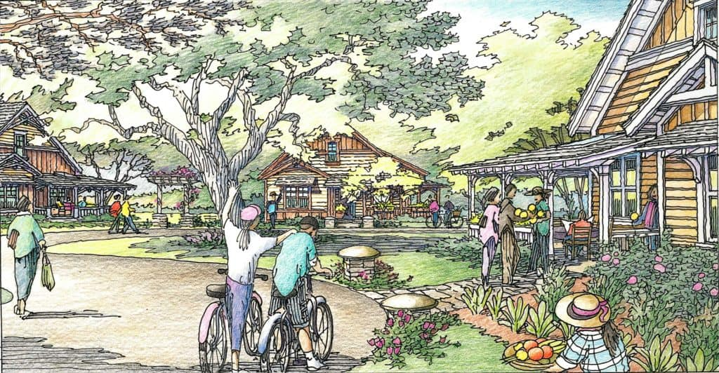 Senior Living neighborhood - cottages, cyclists, community