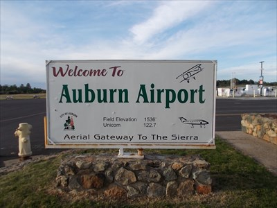 sign: Welcome to Auburn Airport - Aerial Gateway To The Sierra
