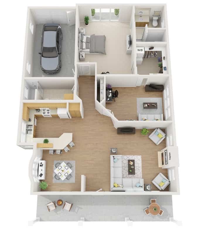 Our Hillcrest Senior Living Bungalow 3D Plan