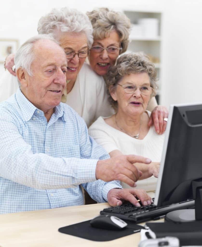 Older folks looking at computer